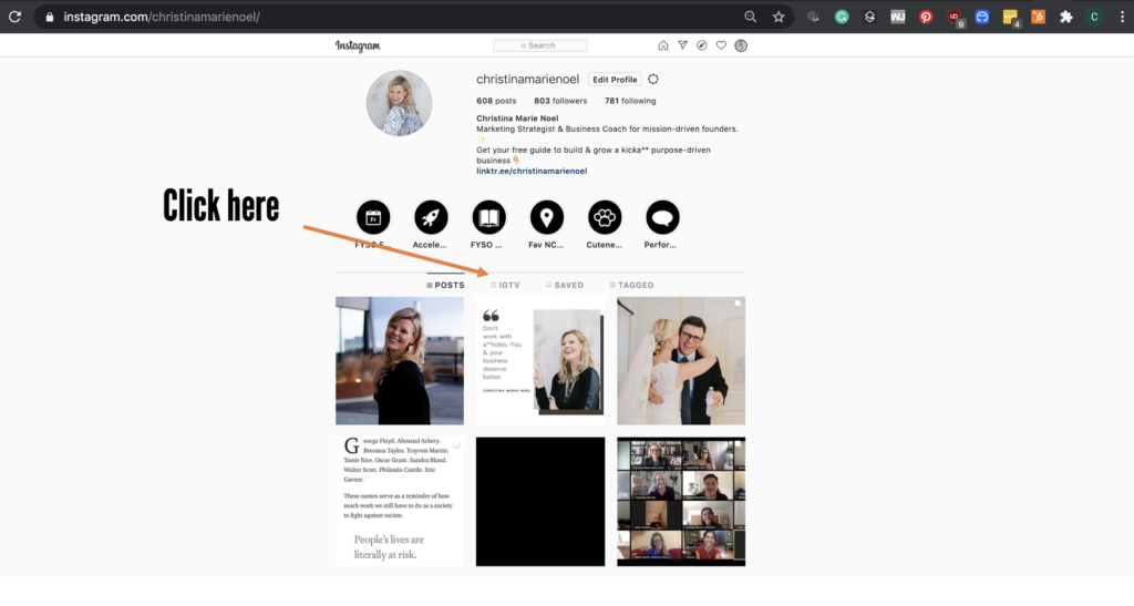 Image of Christina Marie Noel Instagram profile with an orange arrow pointing at the IGTV tab