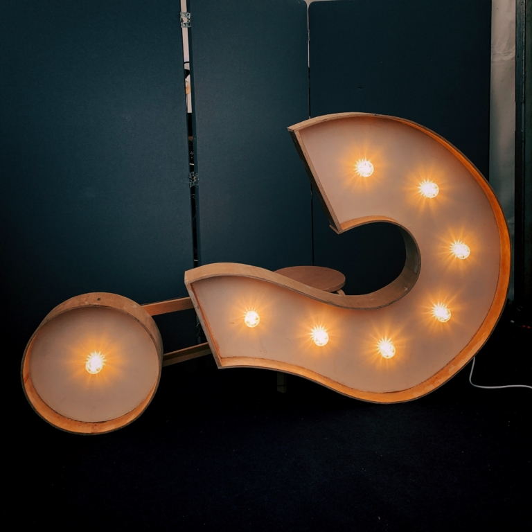 Image of question mark all sign with lights